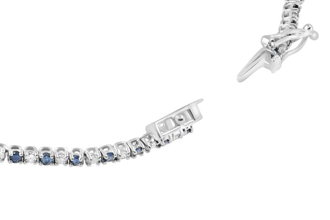 2ct Blue Sapphire & Diamond Genuine Tennis Bracelet 14K White Gold