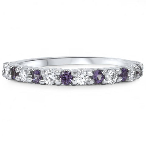 1/2ct Alexandrite & Diamond Half Eternity Ring 14K White Gold SZ5 (Not Enhanced)