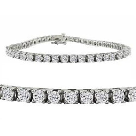 G VS 8 TCW 14k White Gold Round Diamond Tennis Bracelet