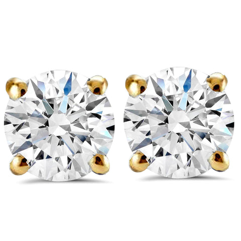 2 1/2 ct Round Diamond Studs in 14k Yellow Gold Screw Back Clarity Enhanced