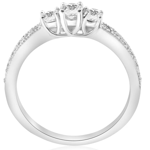 1/2ct 3-Stone Round Diamond Ring 14K White Gold