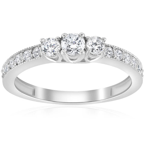 Prong Set 0.50 Ct White Gold Round Diamond Jewelry 3 Stone Engagement Ring Band