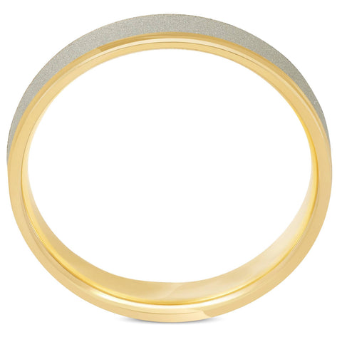 4mm 14K White & Yellow Gold Two Tone Brushed Wedding Band