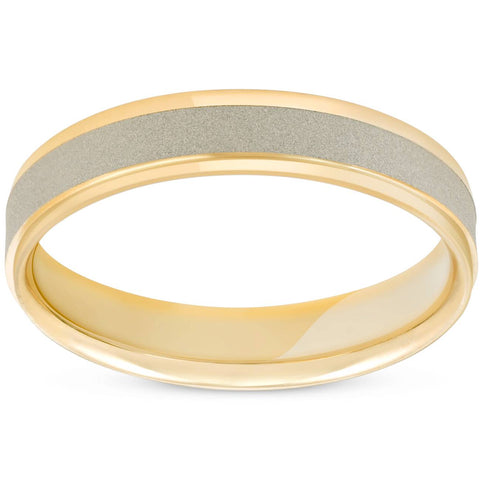 Men's 4mm Two Tonned 14K White & Yellow Gold  Brushed Wedding Band Ring