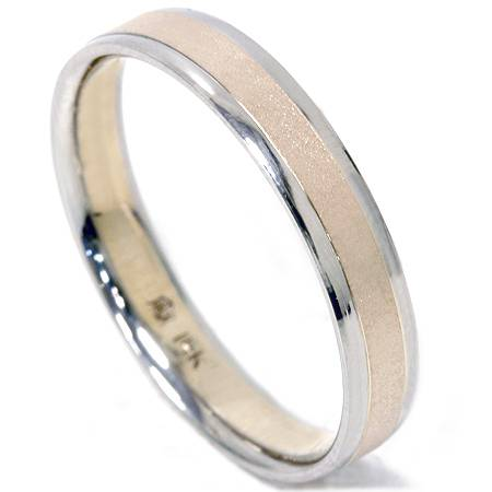 4mm 14K Gold Two Tone Comfort Fit Wedding Ring Band