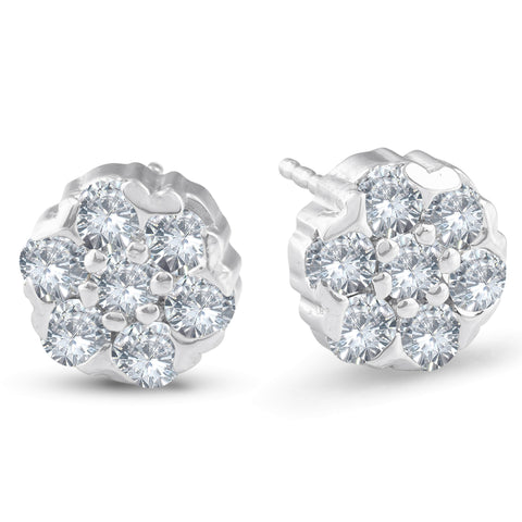 1 1/2 Ct Diamond Studs 14k White Gold