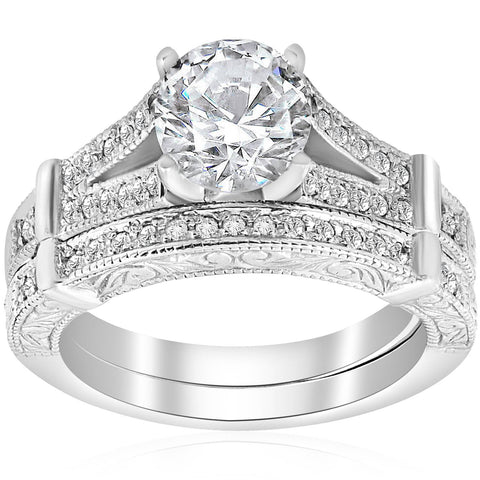 1 1/2ct Diamond Vintage Engagement Matching Wedding Ring Set White Gold Jewelry