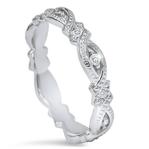 1/8ct Vintage Sculptural Lab Created Diamond Eternity Ring 14K White Gold
