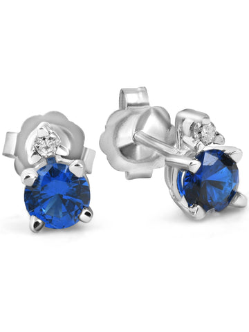 3/4 cttw Diamond & Synthetic Blue Sapphire Studs 14k White Gold Womens Earrings