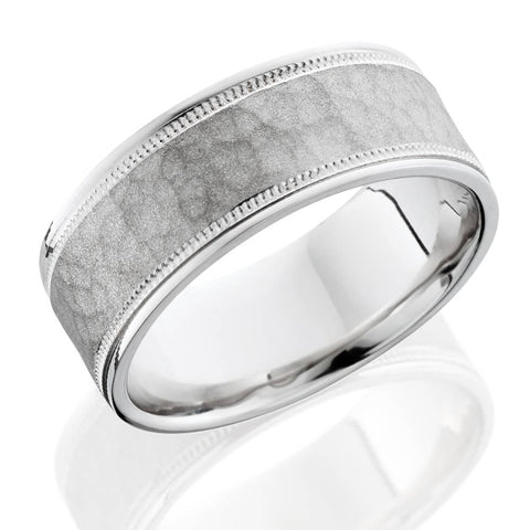 8mm Hammered Comfort Fit 14K White Gold Men's Band