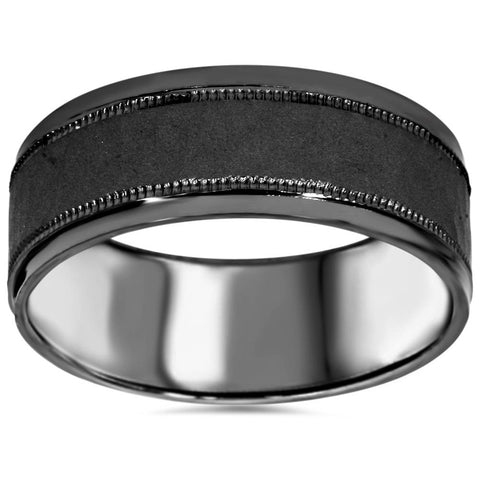 8mm Hammered 10K Black Gold Mens Wedding Band