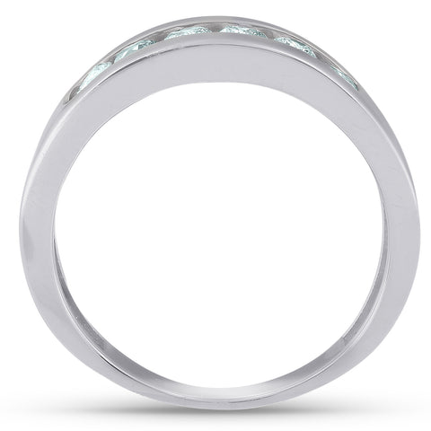VS/G 1Ct Diamond Channel Set Polished Wedding Band Men Ring White Gold Lab Grown
