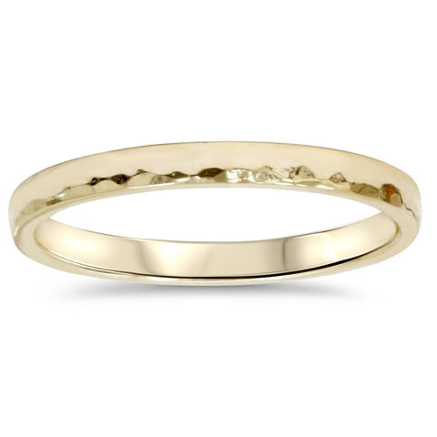 2mm Hammered 14K Yellow Gold Band