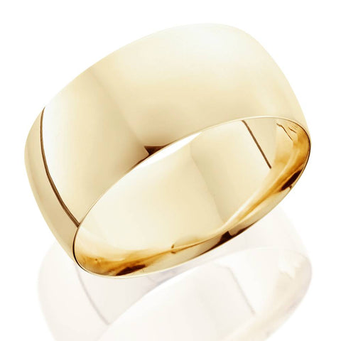 10mm Dome High Polished Wedding Band 14K Yellow Gold