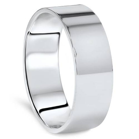 High Polished 7MM Flat Mens Wedding Band Ring 950 Platinum