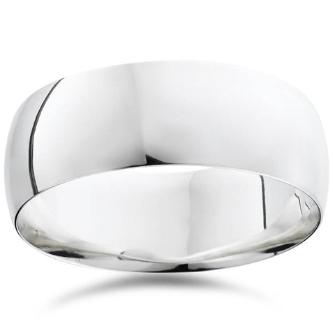 Men's 8mm Dome High Polished Wedding Band Ring 10K White Gold