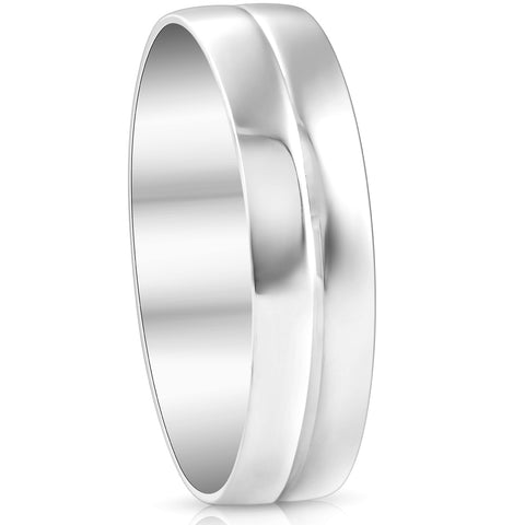 Mens 10k White Gold 6MM Polished Dome Carved Wedding Band Comfort Fit Ring