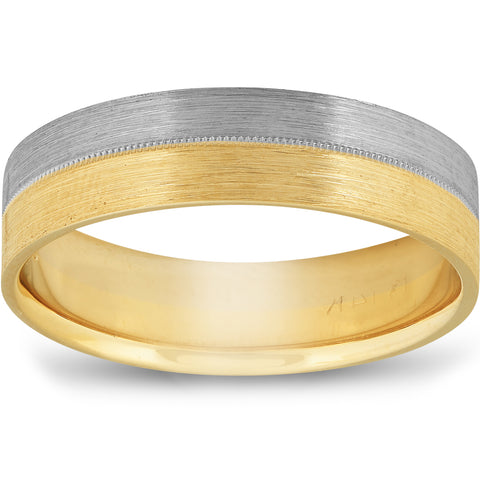 Two Toned Matte Finish Mens Wedding Band Ring 14K Gold