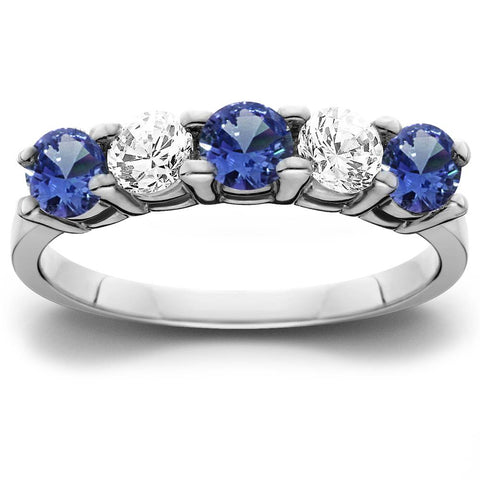 1.00Ct Genuine Blue Sapphire & Natural Diamond 5-Stone Ring 14K White Gold