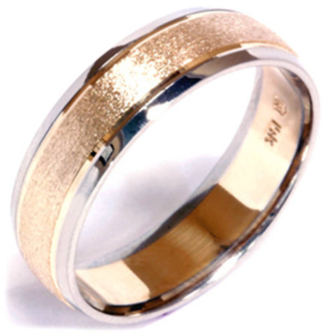 Stone Finish Wedding Band 14K Gold