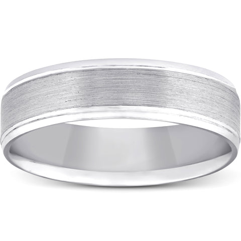 5mm Flat Brushed Mens Wedding Band 10K White Gold