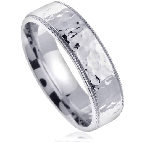 Polished Hammered Mens 6mm 10K White Gold Wedding Band