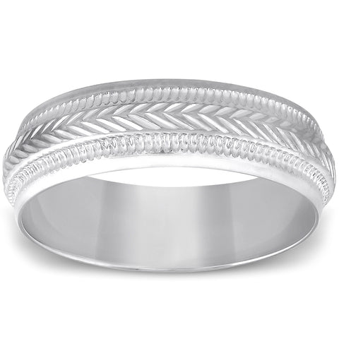 6mm Mens 10K White Gold Brushed Hand Carved Pattern Wedding Band