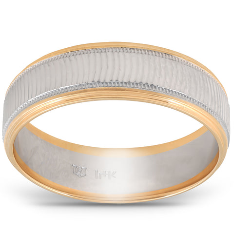 Solid 14k Gold Mens 6mm Two Tone Wave Cut Ring Wedding Band