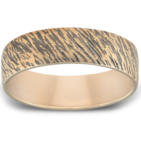 Black & Yellow Gold Cheetah 6mm Ring Mens Wedding Band 10k