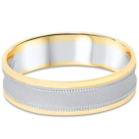 Mens 14K White & Yellow Gold Two Tone Brushed Wedding Band Ring