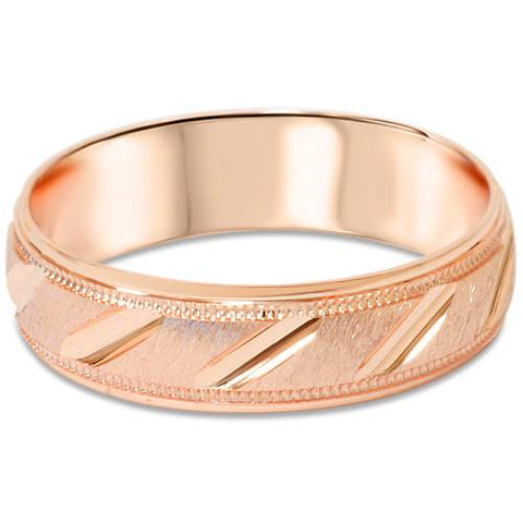 6mm Brushed Hand Carved Wedding Band 14k Rose Gold