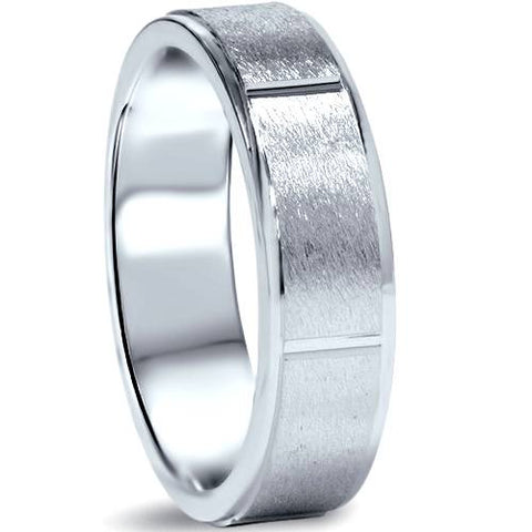 6mm Flat Brushed Mens Comfort Fit Wedding Band White Gold