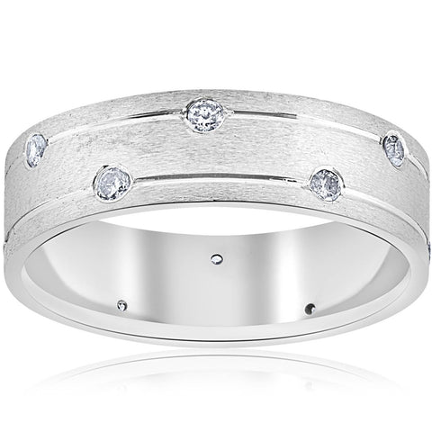 Mens 14k White Gold Genuine Diamond Comfort Fit Wedding Ring 6MM