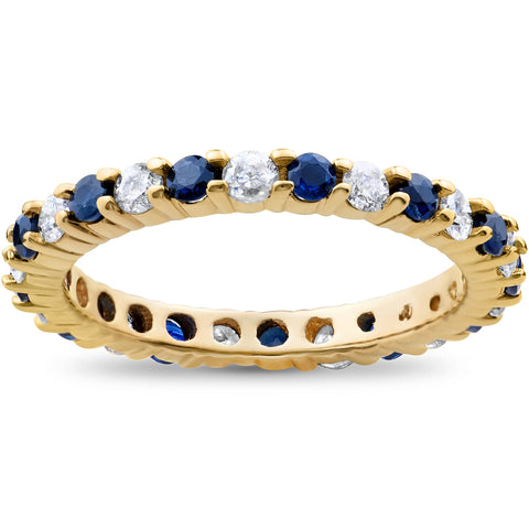 Blue Sapphire & Diamond Eternity Ring 1 1/2 ct Stackble Yellow Gold Wedding Band