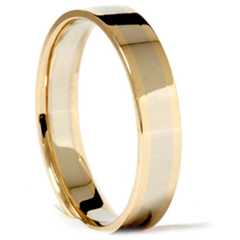 14k White Yellow Gold 4mm Two Tone Wedding Band Ring