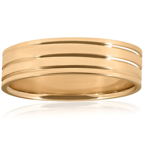 High Polished Mens Wedding Ring Solid 10K Yellow Gold