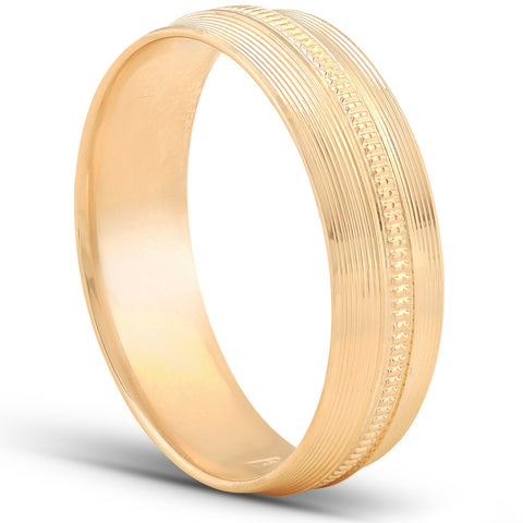 Mens Hand Carved Polished Wedding Band Available in White Yellow or Rose Gold