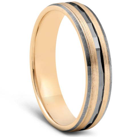 Solid 10k Yellow & Black Gold Mens Brushed Diamond Cut Finish Mens Wedding Band