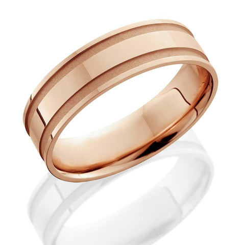 14K Rose Gold Mens Grooved Wedding Band 6mm