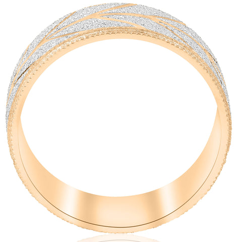 10k Gold Men's Comfort-Fit Wedding Band Stone Finish and Cuts 8MM Two Tone