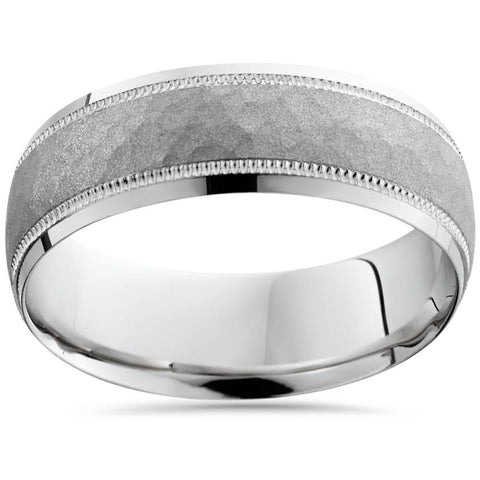 7mm Hammered Wedding Band 10K White Gold