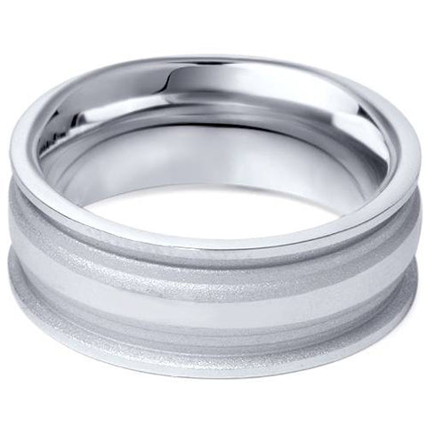 Mens 8mm Hand Carved Comfort Fit Wedding Band Ring 10K White Gold