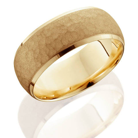 Mens 14K Yellow Gold 7MM Hammered Bevel Comfort Wedding Ring Band