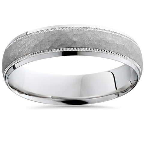 14K White Gold Mens Hammered Textured 5mm Wedding Ring