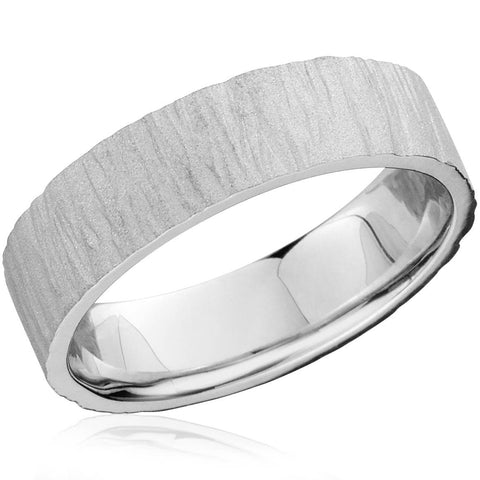 White Gold Wedding Band 6mm Flat Men's 10K White Gold Textured Ring