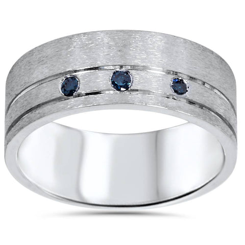 1/10ct Mens Blue Diamond Comfort Fit Brushed Wedding Band 10K White Gold