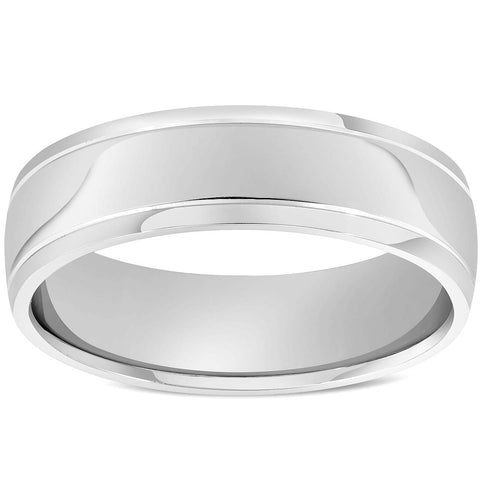 Mne's 6mm High Polished Dome Comfort Fit Wedding Band Ring Solid 14K White Gold