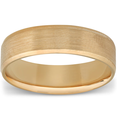Men's 6mm Wedding Band Ring with Satin Center& High Polished Sides 14K Gold