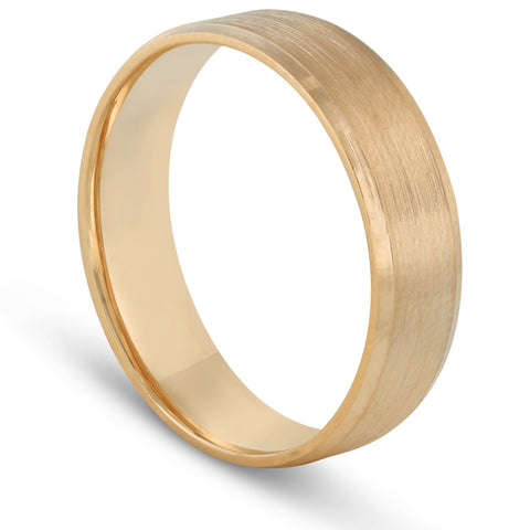 Men's 14k Yellow Gold 6mm Plain Wedding Band with Satin Center and Bright Sides