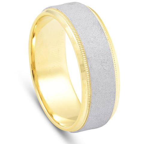 950 Platinum & 18K Yellow Gold 7mm Hammered Wedding Band Men's Comfort Fit Ring